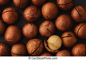 food background texture of macadam nuts closeup