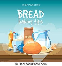 Food baking ingredients vector background