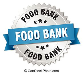 food bank 3d silver badge with blue ribbon