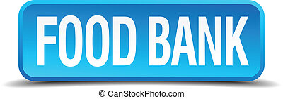 food bank blue 3d realistic square isolated button