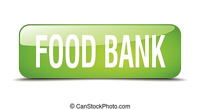 food bank green square 3d realistic isolated web button