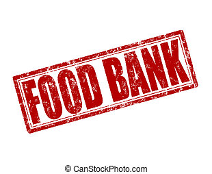 Stamp with text food bank inside, vector illustration