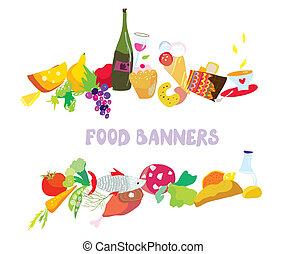 Food banners set cartoon design