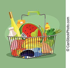Food basket. Vector flat cartoon illustration