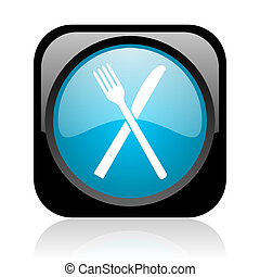 food black and blue square web glossy icon