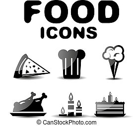 Food black glossy icon set