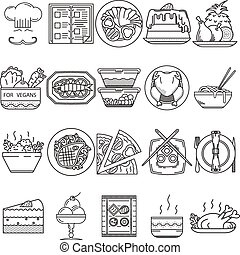 Food black line vector icons