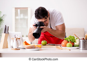 Food blogger working in the kitchen