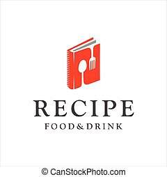 Food book logo Design. Food blog logo with Cutlery isolated on white background. Design template emblem, badge, sign for recipe book, Food Culinary education school Logo Design Vectro Stock.