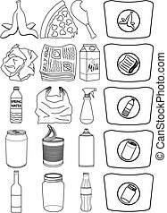 Vector illustration pack of organic paper plastic aluminium and glass items for recycling.