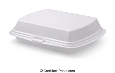 Food box - Closed styrofoam food box isolated on white