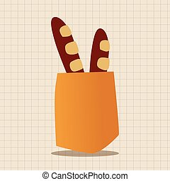 food bread flat icon elements, eps10