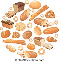 Food bread rye wheat whole grain bagel sliced french baguette croissant vector icons in circle