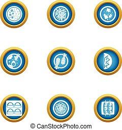Food bun icons set, flat style - Food bun icons set. Flat...