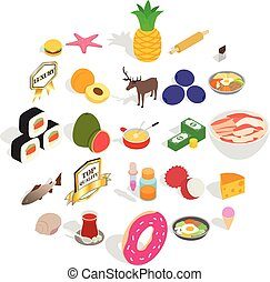 Food business icons set, cartoon style