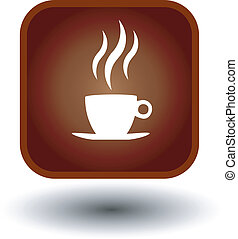 food button, hot coffee icon