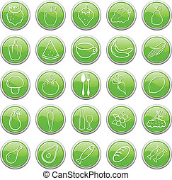 Food buttons. Vector illustration