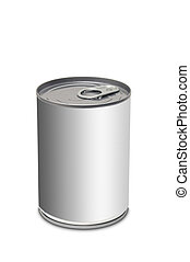 Blank food can over white background