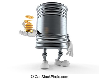 Food can character with stack of coins
