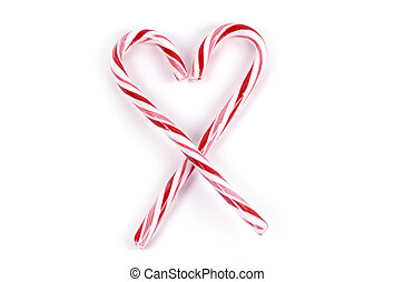 Food - Candy Cane Heart - Two striped candy canes shaped...