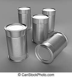 Food cans - 3D computer illustration with global...