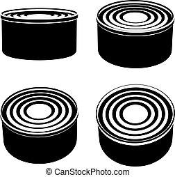 food cans black symbol