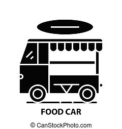 food car icon, black vector sign with editable strokes, concept illustration