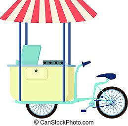 Food cart vending bicycle icon, cartoon style