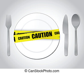 food caution concept illustration design