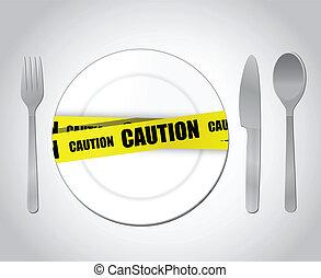 food caution concept illustration design