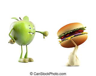 Food character - apple versus buger - 3d rendered ...