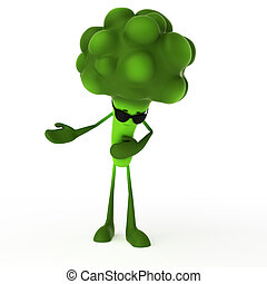 Food character - broccoli - 3d rendered illustration of a ...