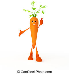 Food character - carrot - 3d rendered illustration of a food...