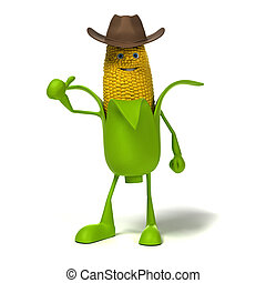 Food character corn cob - 3d rendered illustration of a corn...