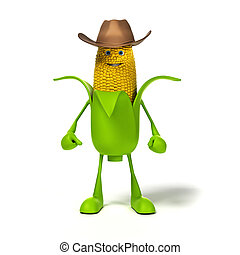 Food character - corn cob - 3d rendered illustration of a...