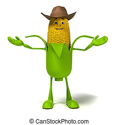Food character - corn cob - 3d rendered illustration of a ...