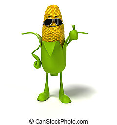 Food character - corn cob - 3d rendered illustration of a ...