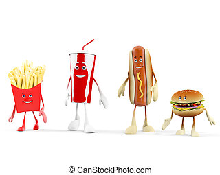 Food character - fast food - 3d rendered illustration of a...