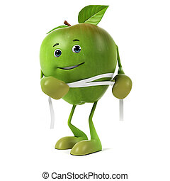 Food character - green apple