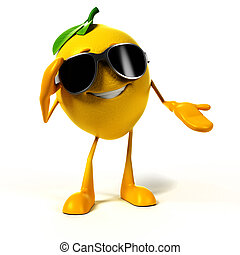 Food character - lemon - 3d rendered illustration of a lemon...