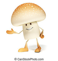 Food character - mushroom - 3d rendered illustration of a ...