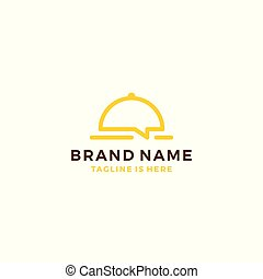food chat talk bubble restaurant social media logo template vector icon illustration