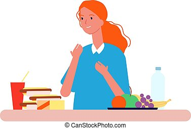 Food choice. Woman choosing between healthy and unhealthy nutrition. Diet vector concept