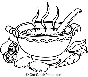Food - Bowl of hot soup and some vegetables on white...