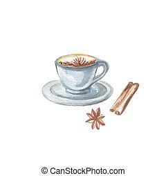 Food Clipart - Watercolor Illustration of Coffee Cup on...