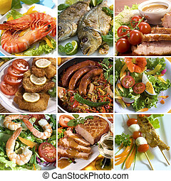 Collage of different delicious main dishes and salads