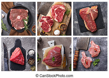 Food collage. Different type of meat