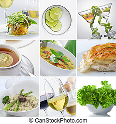 food collage - food and drink theme collage composed of a...
