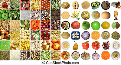 Food collage including pictures of vegetables, fruit, pasta ...
