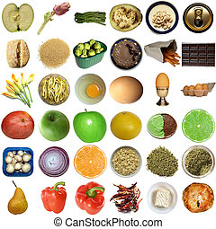 Food collage isolated - Collage of food isolated over white...
